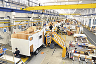 Assembly line production of motorhomes in a factory - SCH000231