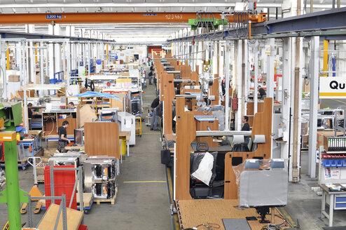 Assembly line production of motorhomes in a factory - SCH000248