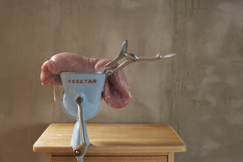 Meat lying on vegetable chopper in kitchen - SABF000002