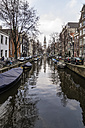 Netherlands, Holland, Amsterdam, Canal, Houses and Zuiderkerk in the background - THA000412