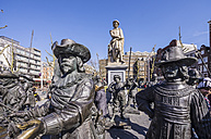Netherlands, Holland, Amsterdam, Amsterdam Canal District, Sculptures Night Watch by Rembrandt - THA000416