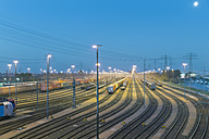 Germany, Hamburg, Switching yard station Altenwerder at night - MS003967