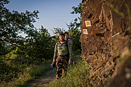 Germany, Rhineland-Palatinate, Moselsteig, father and his little son hiking - PA000681