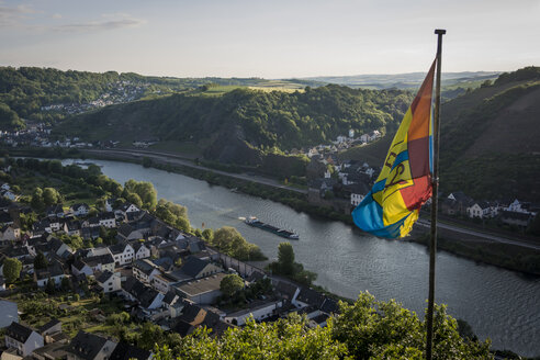 Germany, Rhineland-Palatinate, Moselsteig, view to Lehmen and Niderfell with flag in the foreground, elavated view - PA000692