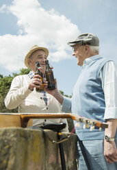 Two old men toasting with beer bottles in the park - UUF000708