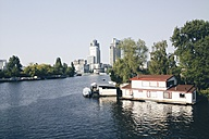 The Netherlands, Amsterdam, Amstel river with house boats, - HAWF000233