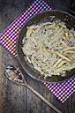 Wooden spoon and frying pan of finger-shaped potato dumplings with sauerkraut and bacon on cloth - LVF001368