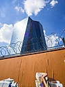 Germany, Hesse, Frankfurt, new building of European Central Bank behind barrier with razor wire - AMF002287
