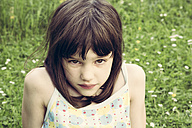 Portrait of little girl pouting mouth - LVF001360