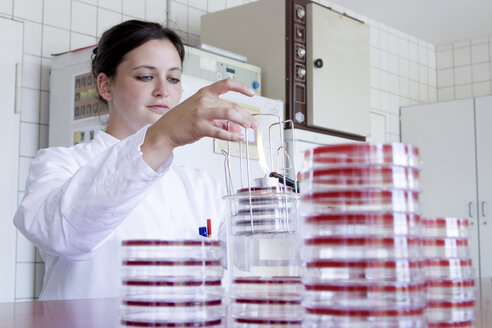 Portrait of female food analyst working in laboratory - SGF000734