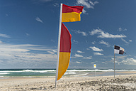 Australia, New South Wales, Pottsville, safety flags on beach - SHF001366