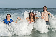 Australia, New South Wales, Pottsville, Family having fun swimming in surf - SHF001368