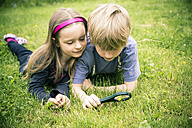 Brother and sister lying on meadow watching flowers with magnifying glass - SARF000674
