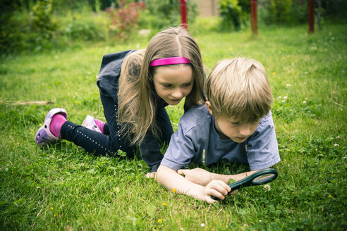 Brother and sister watching flowers with magnifying glass on meadow - SARF000677