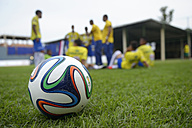 Brazil, Rio de Janeiro, Brazuca lying on meadow, in the background football team of Street Child World Cup 2014 - FLK000315