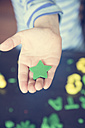 Green star shaped from modeling clay on little girl's palm - LVF001410