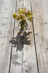 Flower vase with bunch of winter roses, Helleborus niger, on wood - AXF000691
