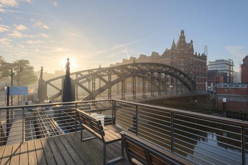 Germany, Hamburg, Speicherstadt at sunrise - RJF000175