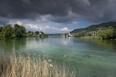 Switzerland, Thurgau, Eschenz, View to Stein am Rhein - ELF001072