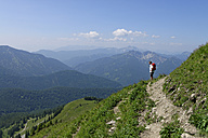 Germany, Bavaria, Upper Bavaria, Mangfall Mountains, Spitzingsee area, Hiker - LB000759