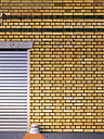 Part of roller shutter and brick slip cladding of an old factory, 3D Rendering - UWF000108