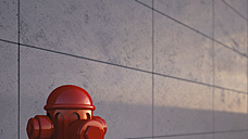 Part of red hydrant in front of concrete wall, 3D Rendering - UWF000114