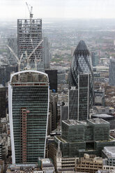 Great Britain, Endland, London, Southwark, View from The Shard to Financial district with The Gherkin and building sites - WEF000139