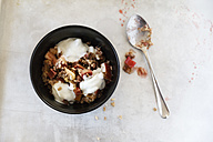 Rhubarb Strawberry Crumble  with yogurt in a bowl, spoon - EVGF000617