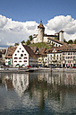 Switzerland, Canton of Schaffhausen, View of Schaffhausen with Munot Castle, High Rhine river - WIF000784