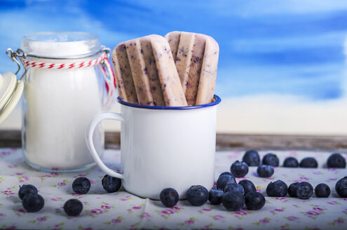 Cup with two home-made blueberry ice lollies and blueberries - ODF000763