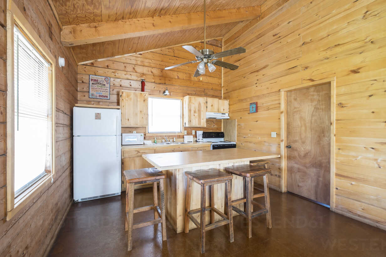 Usa Texas Kitchen And Dining Room Interior Of Log Home Vacation Cabin Stockphoto