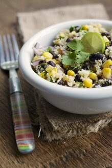 Mayan couscous salad with couscous, black beans, corn, cilantro, red onion, jalapeno - HAWF000311