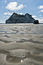 New Zealand, Golden Bay, Wharariki Beach, sand at the beach during low tide and rock - SHF001443