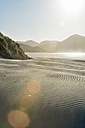 New Zealand, Golden Bay, Wharariki Beach, wind patterns and reflections in a sand dune - SHF001458