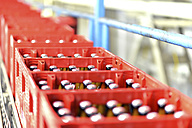 Germany, beer crates on an assembly line of a brewery - SCH000284