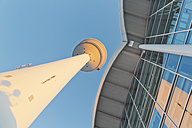 Germany, Hamburg, view to television tower and trade fair building from below - MSF004055