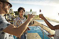 Friends drinking beer on highboard of a swimming pool - VV000146