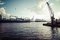 Germany, Hamburg, Port of Hamburg, Museum harbour Oevelgoenne, Old harbour crane, Containerterminal Burchhardkai in the background - KRP000545
