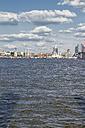 Germany, Hamburg, Port of Hamburg, Elbe river and city view - KRPF000570