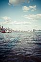 Germany, Hamburg, Port of Hamburg, Elbe river and city view - KRPF000574