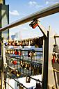 Germany, Hamburg, Love locks at the Landing Stages - KRPF000600