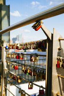 Germany, Hamburg, Love locks at the Landing Stages - KRPF000600
