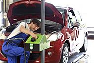 Car mechanic adjusting headlight - SCH000301