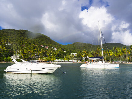 Caribbean, Antilles, Lesser Antilles, Saint Lucia, Castries, Sailing yachts in Marigot Bay - AM002444