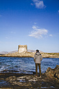 Italy, Sardinia, Stintino, Pelosa, Beach, Tower at Pelosa, Tourist - MBEF001061