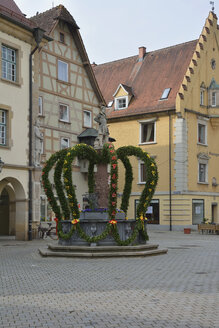 Germany,  Baden-Wuerttemberg, Sigmaringen, decorated fountain at Easter time - AXF000706