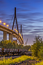 Germany, Hamburg, Train cars in front of the Koehlbrand Bridge in the port of hamburg in the evening - NKF000165