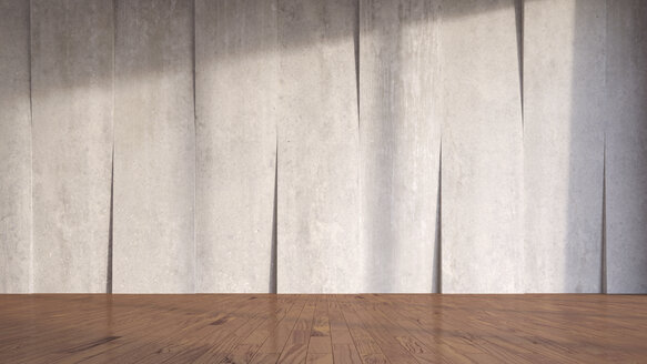 Concrete wall and wooden flooring, 3D Rendering - UWF000117