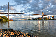 Germany, Hamburg, Port of Hamburg, Koehlbrand Bridge in the evening light - RJF000209