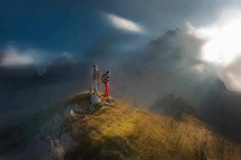 Austria, Salzburg State, Filzmoos, Couple, Two hikers - HHF004828
